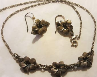 3 Pc Set Black Gray Sterling Silver Necklace .925 Figaro Chain Flower Earrings Vinatge
