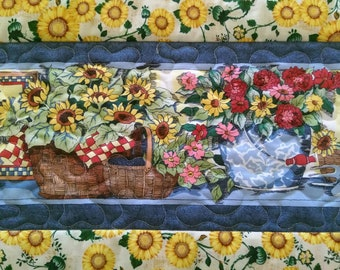 Quilted Spring Table Runner, Easter Decor, Sunflowers, Gardening, Table Topper, Country Chic
