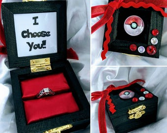 "Pokémon inspired Engagement Ring Box with Quote inside : ""I Choose You"". Handmade and Customizable."