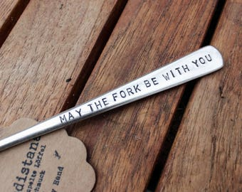 """Hand-stamped vintage fork / / """"May the fork be with you"""""""