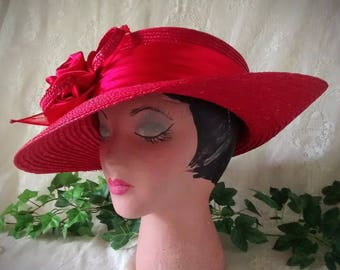 Red Straw Vintage Ladies Hat Trimmed in Red Satin Roses