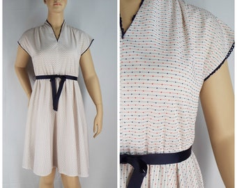 Vintage 1970s Womens Red White and Blue Dotted Swiss  & Stripes Ribbon Belt V Neck Dress | Size M