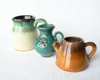 3 CERAMIC Vases Vintage/ Set of 3 Ceramic Cups/ Latvian Pottery Ethnic Pattern/ Handmade/ Latvia 1980s