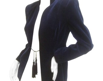 Ossie Clark Midnight Blue Velvet Jacket with Tassels. Early 1970's.