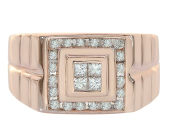 0.50 Carat Round And Princess Cut Channel Setting Diamonds Mens Ring 14K Rose Gold