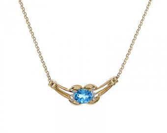 2.00 Carat Blue Topaz Necklace With 0.06 Carat Round Cut Diamond Accent 14K Yellow Gold