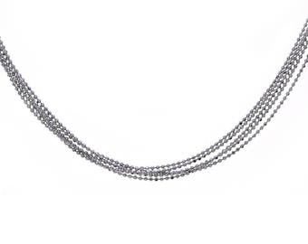 Five Strand Ball Link Chain Made In Italy 14K White Gold