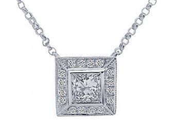 0.47 Carat Diamond Princess Cut Pendant 14k White Gold
