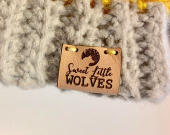 Leather Tags | Wrapped | Branding | Crochet Tags