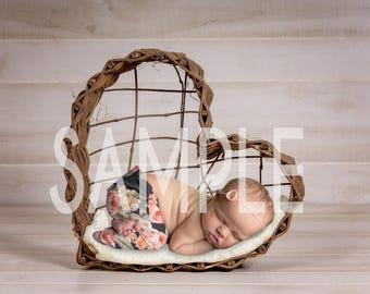 Newborn digital backdrop - Newborn digital background - Heart wreath newborn - Newborn digital prop