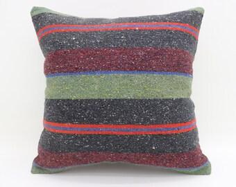 Kilim Pillows,20x20 Striped Pillow Kilim Pillow Cover Multi Color Turkish Kilim Pillow Bohemian Pillow Large Pillow Cushion Case SP5050-2632