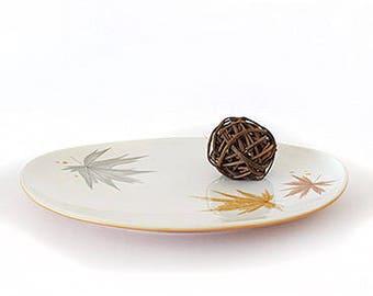 Harvest Time Serving Platter, Vintage Ben Seibel Iroquois Pattern, Retro Informal China 12 Inch Tray, Fall Leaves