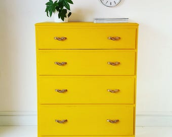 Vintage Upcycled Yellow Chest of Drawers