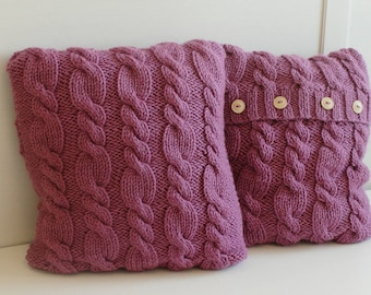 Raspberry cable sweater pillow throw, hand knitted pillow cover, pink cushion