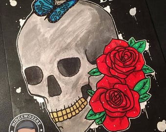 Skull'N'Roses / A4 Original Canvas Board Painting / Cartoon & Graffiti Artwork / Hand Painted Art / One Of A Kind Illustration / Signed