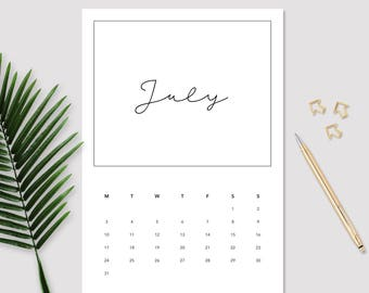2017 July Calendar - Monthly Calendar - Printable July Calendar - Minimalistic Calendar - July Calendar - 2017 Planner - Wall Calendar