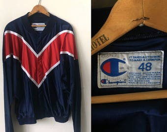 "Vintage Champion Track Jacket 1980's 80's Blue and Red Champion ""Wolfson"" Jacket"