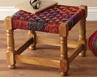 Indian Styled Rope Stool - Vintage Charpoy Stool