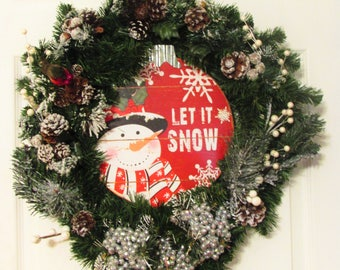 Clearance | Christmas Wreath | Winter Wreath | Christmas Decoration | Flocked | Let it Snow | Pine Cones | Sign | Yule | Snowman|