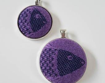 Mommy and Me - Wrap Scrap Jewelry - Pendant - Didymos - Fishes Latimeria- Two Pendant Set - Wrap Scrap - Purple - Fish