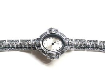 925 Sterling Silver, Marcasite Watch, Weighs 30.01 gram