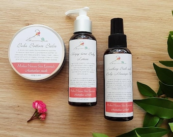 Baby Essentials Gift Set. Natural Bottom Balm, Sleepy-Time Moisturising Lotion, Calming Bath and Body Massage Oil. Natural eco-baby products