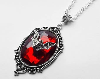 Large Red Silver Bat Jewel Pendant Necklace