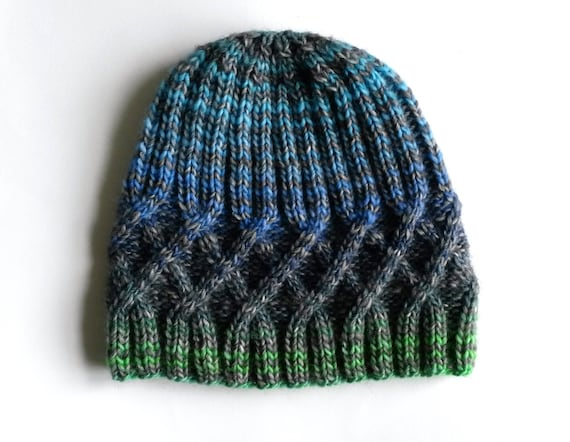 Knit Beanie: wool mix hat. Made in Ireland. Original design. Aran diamond. Men's beanie. Women's beanie. Cable Knit Hat. Teen beanie