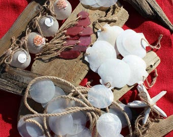 CLEARANCE: Beach Christmas Tree Set, Capiz Garland, Sand Ball Ornaments, Red Faux Sea Glass, Capiz, Scallop Shell and Starfish Ornaments