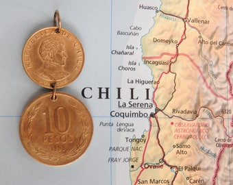 Chile duo coin necklace - made of original coins from Chile - travel - wanderlust - explore