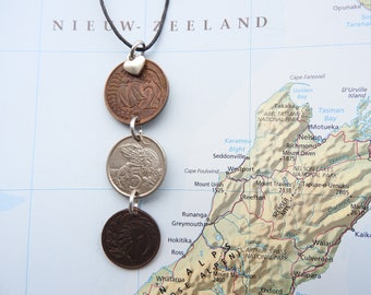 New Zealand coin necklace - 4 different designs - made of original coins from New Zealand