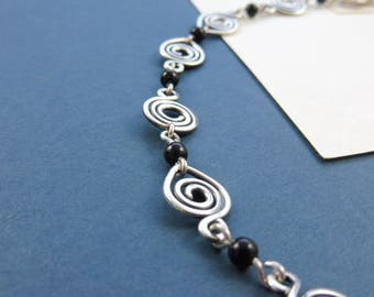 "Silver Spiral Bracelet with Onyx Beads - ""Sorceress' Adornment"""