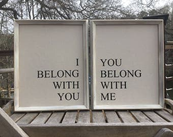 I belong to you,you belong to me,Bedroom Wall Decor,Set of two,Framed canvas quote,Wedding prop,wedding gift.Wedding Decor,Valentines gift