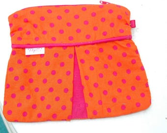 Pink orange pouch with polka dots!