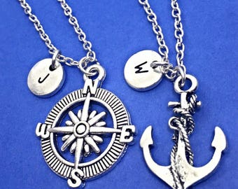 925 Sterling silver,Best friend necklace, nautical necklace, nautical charms, friendship jewelry, personalized, custom, initial, monogram,