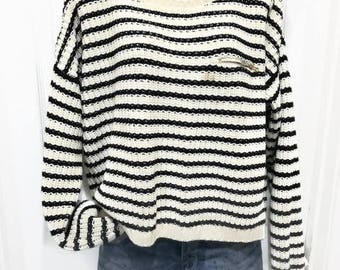 Tommy Hilfiger Stripes Sweater  Navy Blue and White Size XXL