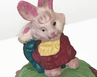 Ceramic Easter Egg Jewelry Box Hand Made Floral Egg With a Bunny on the Top Easter Gift Easter Decor
