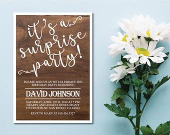Surprise 60th Birthday Invitation/Wood Texture/Rustic bday invitation/40th, 50th, 60th, 70th, 80th, 90th, Any Age Birthday Party Invite
