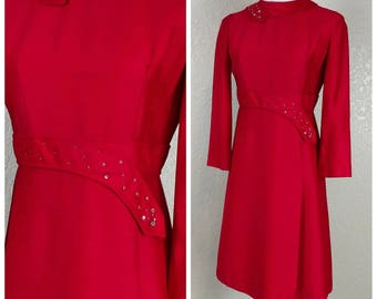 Gorgeous Vintage Red Shift Dress with Sequin and Rhinestone Detail