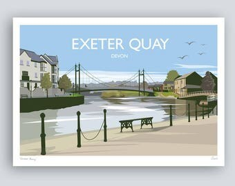 Exeter Quay, Devon. Landscape Print. HAND SIGNED Art Print/Travel Poster. Plus Free Postage!