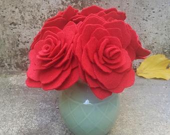 Felt Flowers, Felt Roses, Felt Flower Bouquet, Felt Decor, Set of 5 Felt Roses, Wedding Decor, Mother's Day, Gift for Her, Keepsake Flowers