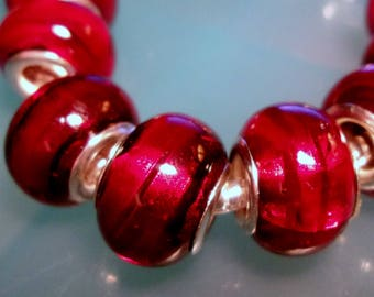 5-Deep Rich Burgundy Foil European Style Bead Charms-Euro Beads-14.5mm-5mm hole-large hole-Lampwork Euro Beads-Siam Red Bead