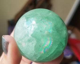 Magic Green Fluorite Sphere with Crazy Rainbows! 204g! Natural Fluorite Sphere comes with Stand!