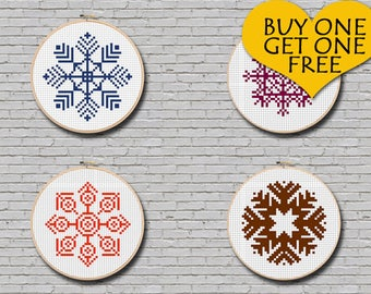 Cross Stitch Pattern Snowflake Set #2 Modern Ornament Minimal Decor 4 Snowflakes Pattern Christmas Gift Idea PDF Pattern