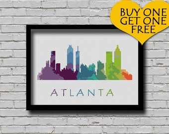 Cross Stitch Pattern Atlanta Athens Georgia City Silhouette Watercolor Effect Decor Embroidery Modern Ornament Skyline xstitch Diy Chart