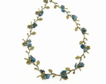 Necklace in bronze with mineral beads COFA12001 (02)