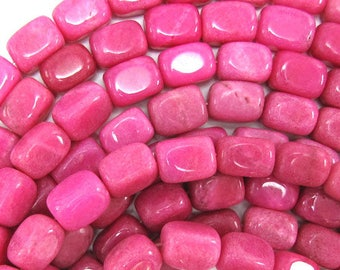 "14mm magenta jade nugget beads 15"" strand 31999"