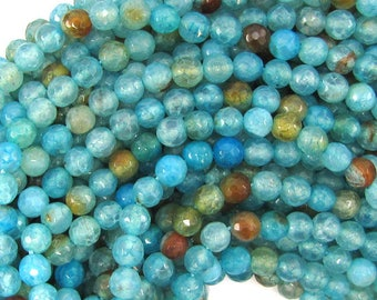 "6mm faceted blue crab fire agate round beads 15"" strand 32303"