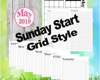 B6 Slim - May, Dutch Door Travelers Notebook Printable Inserts, day on 1 page, Sunday Start, Grid Style