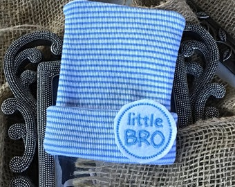 Little Bro newborn Beanie, baby boy, Newborn boy, infant blue striped hat, bonnet, Hospital Hat.